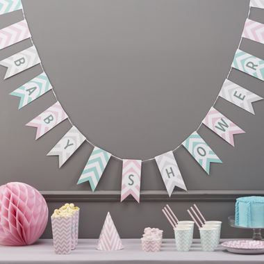 Chevron Baby Shower lippukoriste 3,5m